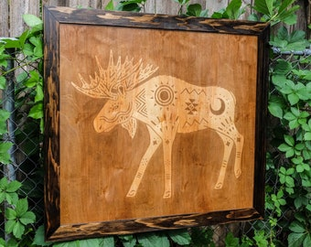 Moose Petroglyphs    Framed Stain Stencil    Wall Art