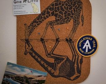 Anatomy of the Giraffe    Screenprinted Cork Board    Wall Art or Pot Cozy