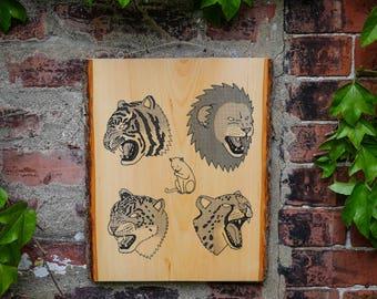 CATS    Screenprinted Wood Slab    Wall Art