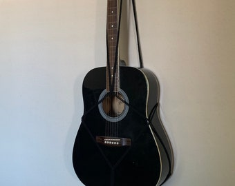 Black macrame acoustic guitar wall hanger, guitar wall mount, macrame hanger, music room decor, wall decor, macrame guitar hanger