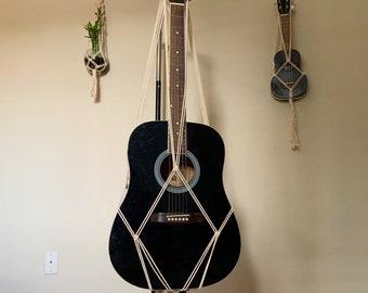Acoustic Guitar wall hanger, macrame guitar hanger, guitar display, guitar stand, guitar holder, wall hanging, macrame guitar wall hanger