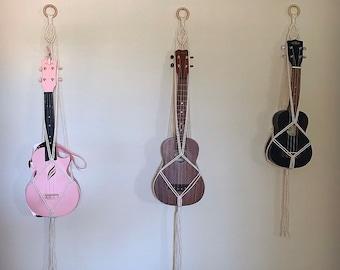 Boho Macrame ukulele wall hanger, ukulele hanger, macrame wall hanging, ukulele display,   Gifts for ukulele players, macrame hanger,