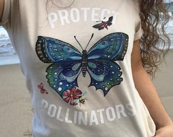 Protect Pollinators Tee Honey Bees Butterflys Flowers Gardening Environmentalist Animal Lover
