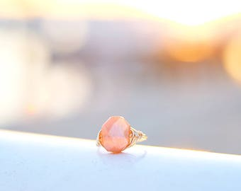 Hexagon Peach Moonstone Wire Wrapped Ring | Anti Tarnish Wire Ring