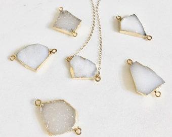 Druzy Quartz Stone Necklace | Raw Edge Gemstone Jewelry