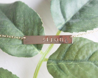 STRONG Bar Necklace | Personalized Jewelry