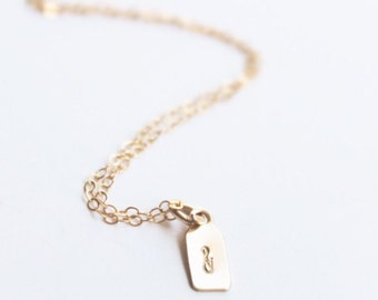 Gold Filled Mini Tag Necklace | Simple Necklace | Hand Stamped Necklace | Delicate Necklace