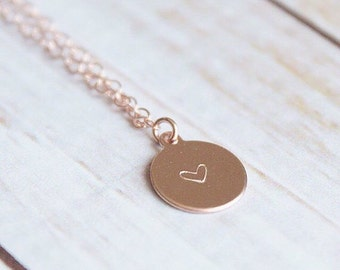 Rose Gold Circle Heart Tag Necklace | Minimalist Jewelry