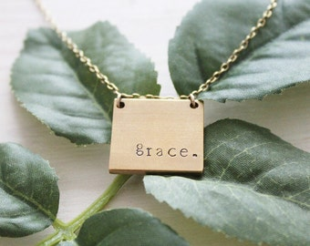 Square Raw Brass Stamped Necklace