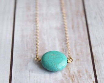 Turquoise Circle Pendant Necklace