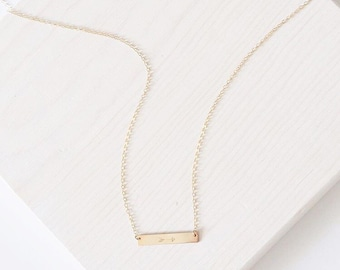 The Lucy Necklace | 14k Gold Filled Bar Necklace | Personalized Jewelry