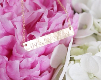 Hammered Bar Necklace | Personalized Necklace | Bridesmaid Jewelry Gift