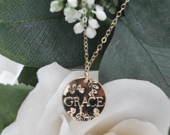 Garden Party Personalized Stamped Gold Filled Circle Tag Necklace | Hand Stamped Necklace
