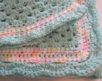 Crochet, Baby Blanket, Newborn, Baby Boy, Soft Turquoise Sparkle, Baby Afghan, Baby Shower Gift