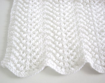 Hand Knitted Baby Boy or Baby Girl, Lacy, Wavy, Baby Afghan, Baby Blanket, Newborn, Baby Shower