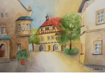 Old City of Regensburg Cityscape, Original Watercolor,  Germany, Architecture Painting