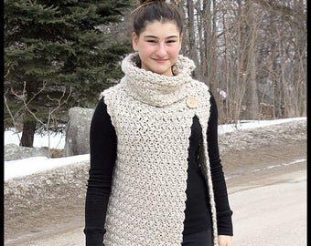 fc56311cf Crochet Vest Pattern - Textured Cowl Neck Vest  Pattern number 086. Instant  PDF Download - Includes 6 sizes from 2 years to 16 years.