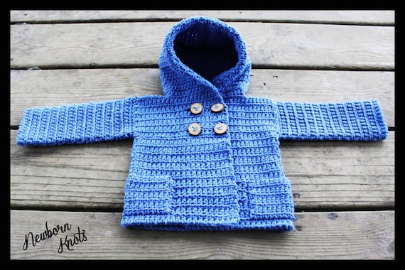 Crochet Baby Sweater Pattern Baby Boy Or Girls Hooded Sweater Coat