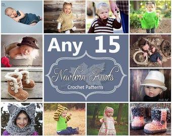 Any 15 Individual  CROCHET PATTERNS from NewbornKnots
