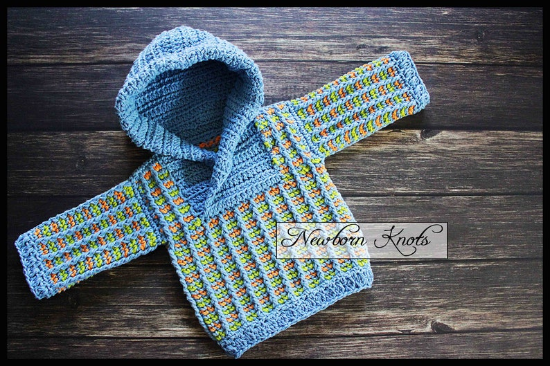 b2106870a Crochet Baby Sweater Pattern Baby Boy or Girls Tri-Color