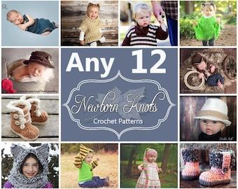 Any 12 Individual  CROCHET PATTERNS from NewbornKnots