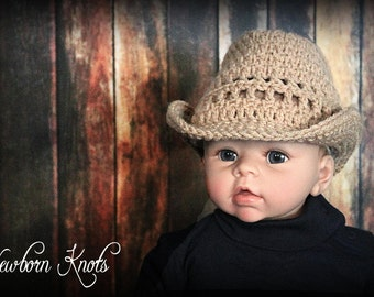 Crochet Cowboy Hat Pattern - Straw Look Baby Cowboy Hat/Pattern #60. Includes 6 sizes up to 5 years -Instant PDF Download