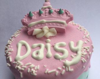 Dog Treats//Dog Birthday Cake//Homemade Gourmet Pink Birthday Cake for Dogs