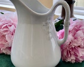 Early English White Ironstone Pitcher, Chain Of Tulips Shape, Meakin, England, Antique Collectible, Cottage, Farmhouse Decor, Interior Decor
