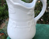 Early English White Ironstone Pitcher, Bow Knot Shape, J and G Meakin, Antique Collectible, Interior Decor, Country, Farmhouse, CottageStyle