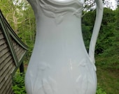 Early English White Ironstone Ewer, Pitcher, Lily Shape, Henry Burgess, England, Antique Collectible, English Country, Wedding Present