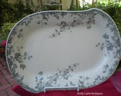 Antique Aesthetic Transfer Ware Platter, Blue Gray Hop Pattern, Johnson Brothers, England, Antique Collectible, Cottage, Interior Design