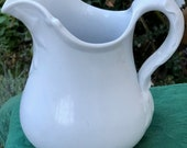 Early English White Ironstone Pitcher, Holly Shape, John Maddock, England, Antique Collectible, Interior Decor, Farmhouse, Cottage Style