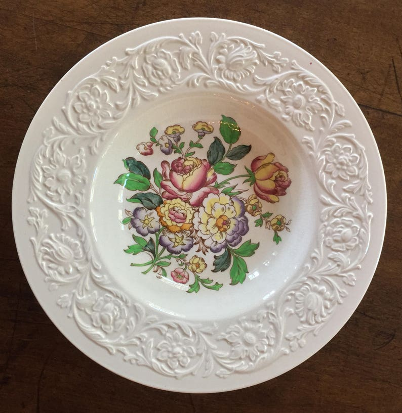Devon Sprays Pattern Vintage Wedgwood Handled Soup Cup and Saucer English Country Decor England Cottage Style Floral R Vintage Gift