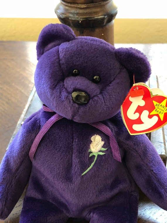 e9ef3726c33 Ty Beanie Babies Princess Purple Bear Collectible Toys