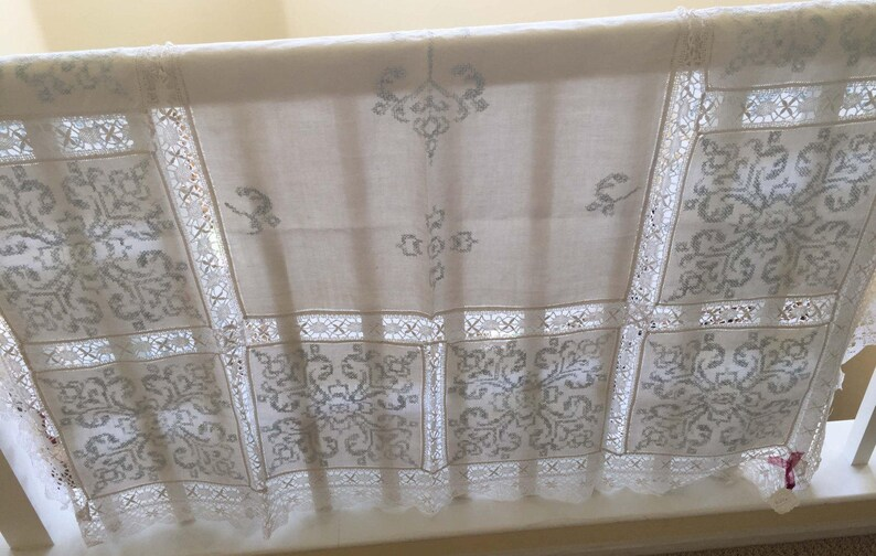 Exquisite Vintage Linen And Lace Tablecloth Wedding Gift Hand Embroidered Pale Blue Design England Lace Inserts and Wide Lace Border
