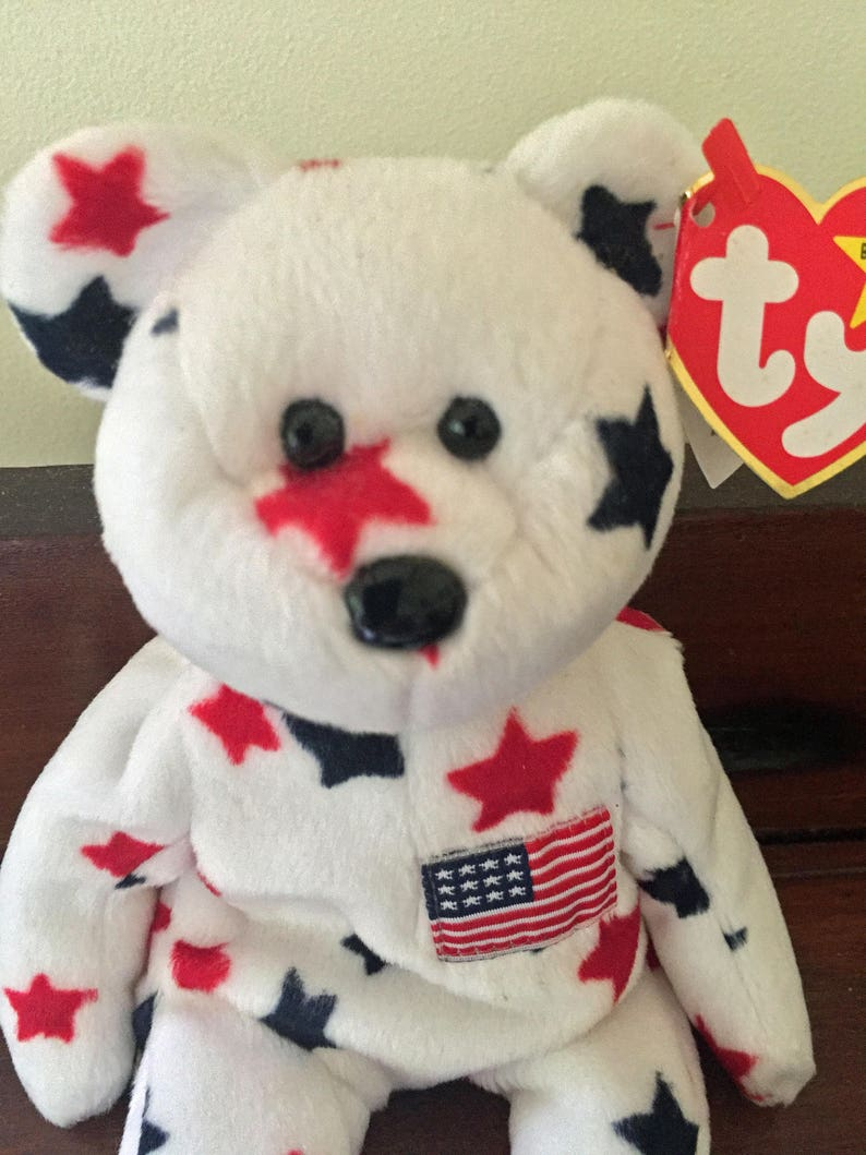 98723fbec2a Ty Beanie Babies Glory White Bear With Blue and Red Stars