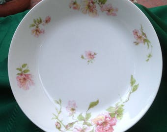 Antique Haviland Limoges Shallow Soup Bowl, Schleiger 59, Pink Roses, Antique China, Shabby Chic, FarmhouseDecor, Cottage Style, Collectible