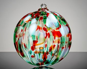 Christmas Crystal, Hand Blown Glass Ornament,