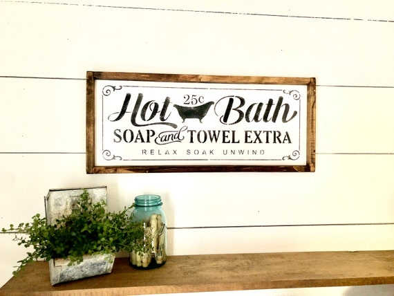 Hot Bath Sign Bathroom Wall Decor Farmhouse Bathroom Etsy