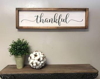 Framed Thankful Sign|fixerupper house|Modern farmhouse decor|entryway decor|entry decor|farmhouse style