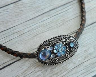 Antique brown braided leather choker necklace with aqua blue rhinestones charm ladies boho art nouveau jewelry handmade jewelery