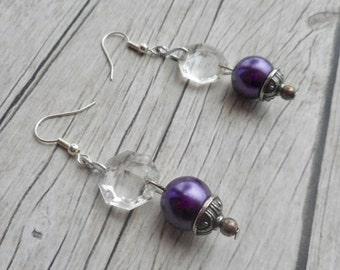Purple beaded rustic dangle earrings with antique silver beads caps / simple ladies jewelery / handmade homemade jewelry / trending items