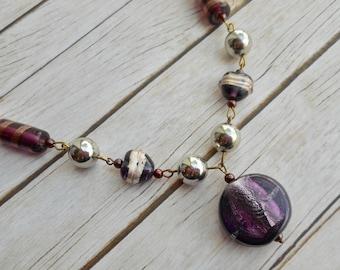 Purple lampwork beads rosary necklace dark purple glass pendant silver tone ladies jewelery handmade jewelry unique stylish gift