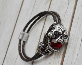 Leather bracelet men skull deadhead clasp buckle ruby crystal handmade jewelry brown unique sturdy jewelery men's jewelry trending item