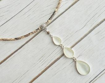 Python print leren choker halsketting glas druppel hanger handgemaakte dames mode sieraad unieke cadeaus voor haar zelfgemaakte sieraden