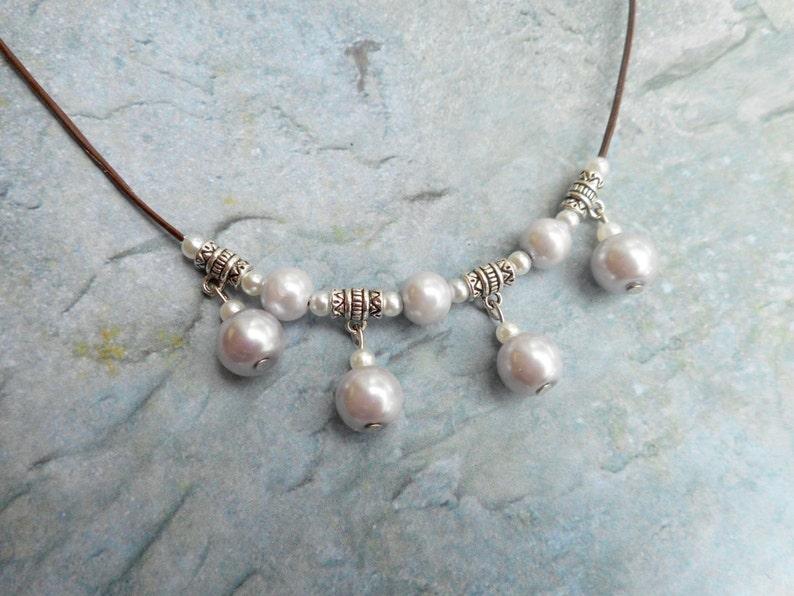 Light purple violet pastel soft color pearl beaded necklace image 0