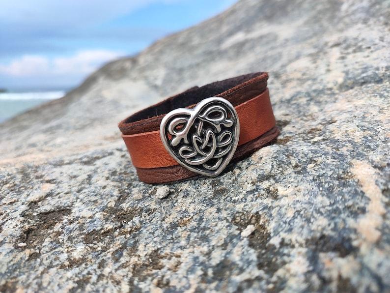 Leather bracelet cuff jewelry Celtic heart handmade jewelery image 0