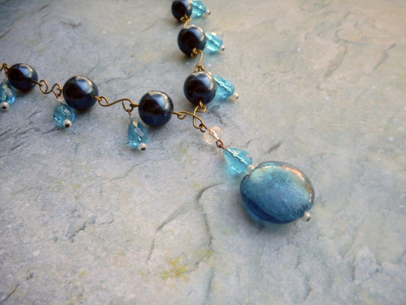 Blue beaded necklace for women ladies jewelry lampwork Murano image 0
