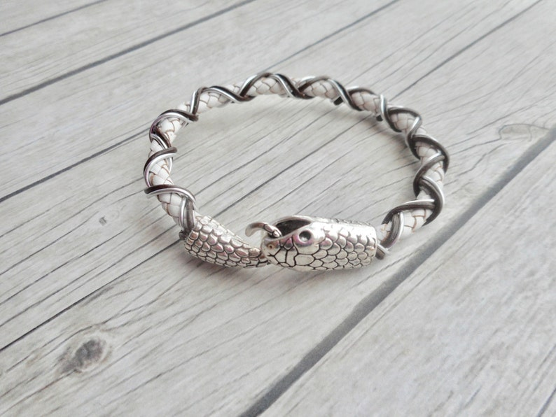 White leather bracelet braided mens ladies white jewelry image 0