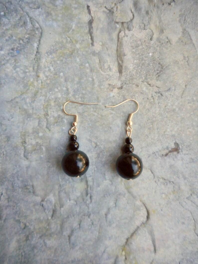 Black beaded earrings Ladies Handmade jewelry dangling ornament  jet black silver jewelery trending ladies fashion items round pearls